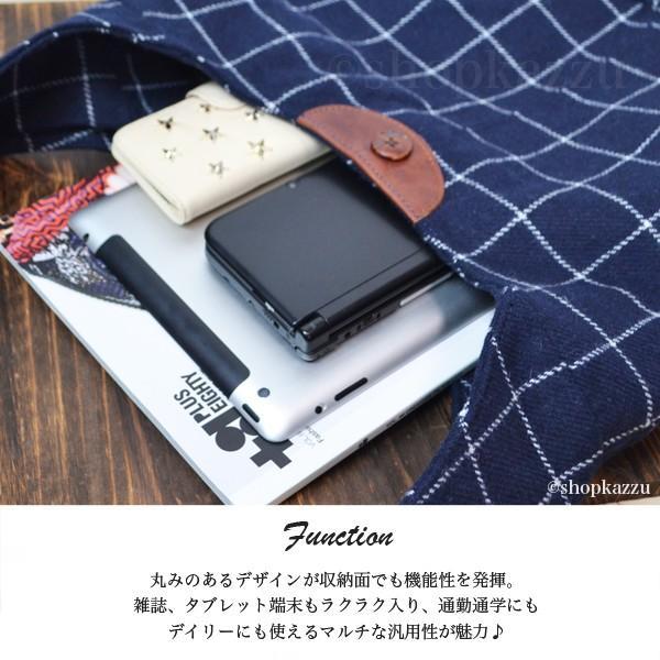 ショルダーバッグ レディース 牛革 ウール ウインドウペンチェック 日本製 マキシシリーズ VIA DOAN No.6413|shop-kazzu|03