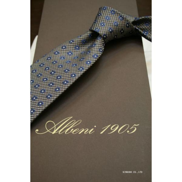 セッテピエゲ(七つ折り)ALBENIアルベニの小紋(グレー)のネクタイ|shop-kinkodo|11