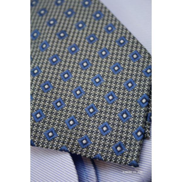 セッテピエゲ(七つ折り)ALBENIアルベニの小紋(グレー)のネクタイ|shop-kinkodo|13