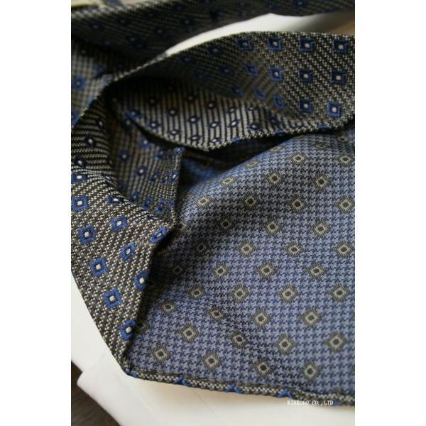 セッテピエゲ(七つ折り)ALBENIアルベニの小紋(グレー)のネクタイ|shop-kinkodo|04