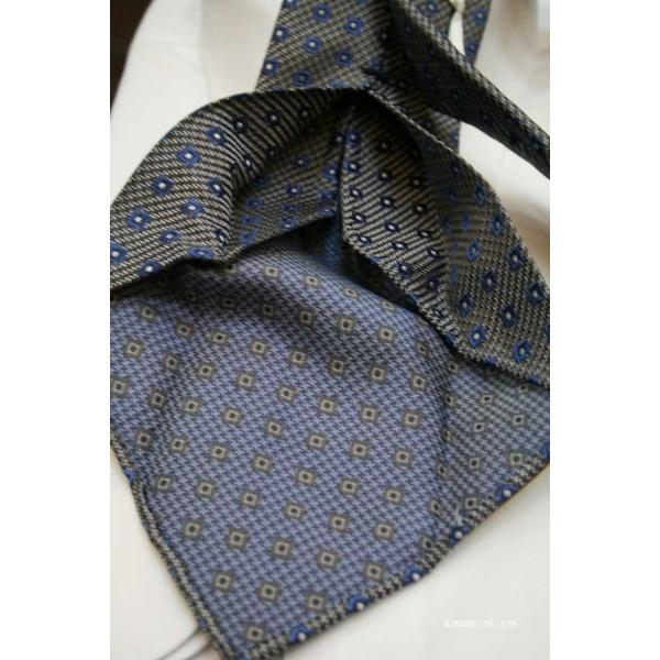 セッテピエゲ(七つ折り)ALBENIアルベニの小紋(グレー)のネクタイ|shop-kinkodo|05