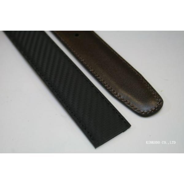 カーボンコーティング・リバーシブル(ブラウン・ブラック)ベルトのみバックル無し巾3センチ120センチ|shop-kinkodo|05