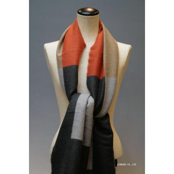 大判パネルストール・マフラー Johnstonsジョンストンズ メリノのウール ベージュ×グレー×オレンジ|shop-kinkodo