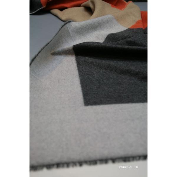大判パネルストール・マフラー Johnstonsジョンストンズ メリノのウール ベージュ×グレー×オレンジ|shop-kinkodo|12