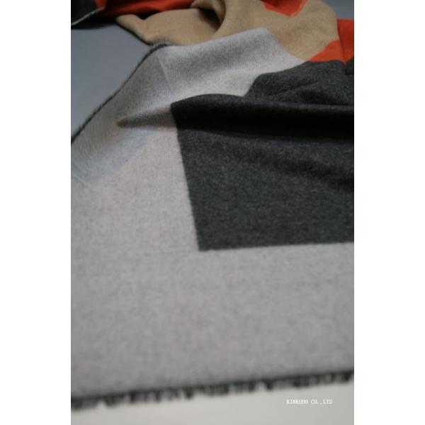 大判パネルストール・マフラー Johnstonsジョンストンズ メリノのウール ベージュ×グレー×オレンジ|shop-kinkodo|13