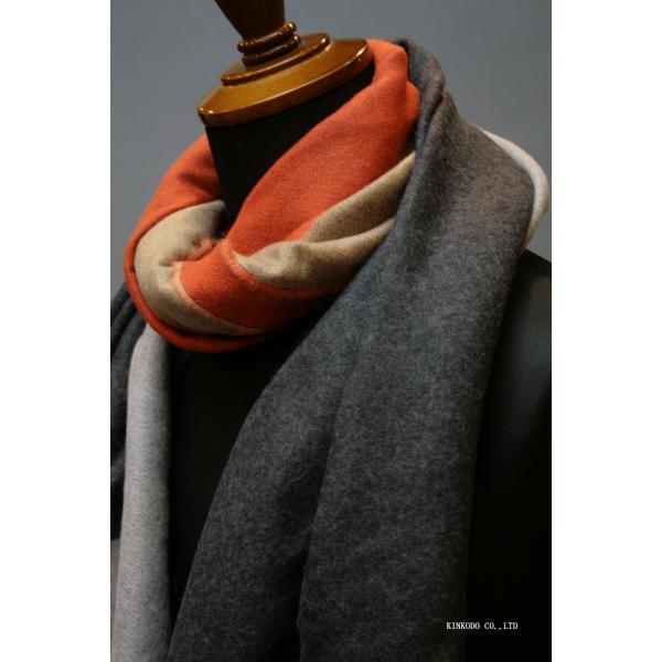 大判パネルストール・マフラー Johnstonsジョンストンズ メリノのウール ベージュ×グレー×オレンジ|shop-kinkodo|05