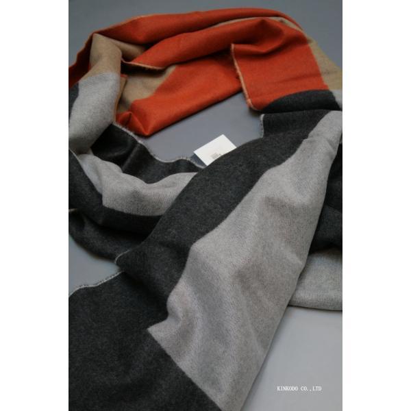 大判パネルストール・マフラー Johnstonsジョンストンズ メリノのウール ベージュ×グレー×オレンジ|shop-kinkodo|07