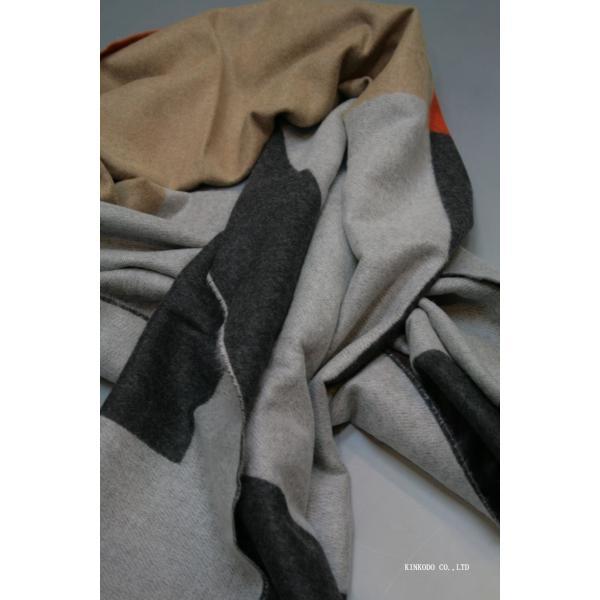 大判パネルストール・マフラー Johnstonsジョンストンズ メリノのウール ベージュ×グレー×オレンジ|shop-kinkodo|09