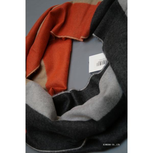 大判パネルストール・マフラー Johnstonsジョンストンズ メリノのウール ベージュ×グレー×オレンジ|shop-kinkodo|10