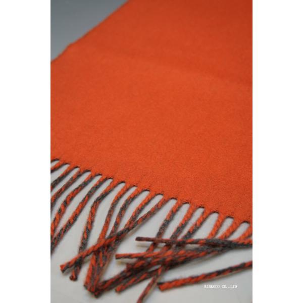 カシミヤのリバーシブルストール・マフラー Johnstonsジョンストンズ ダークグレイとオレンジ|shop-kinkodo|16