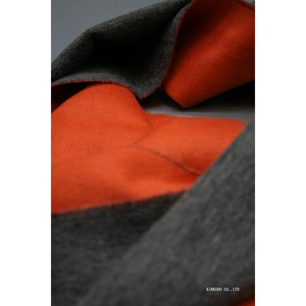 カシミヤのリバーシブルストール・マフラー Johnstonsジョンストンズ ダークグレイとオレンジ|shop-kinkodo|10