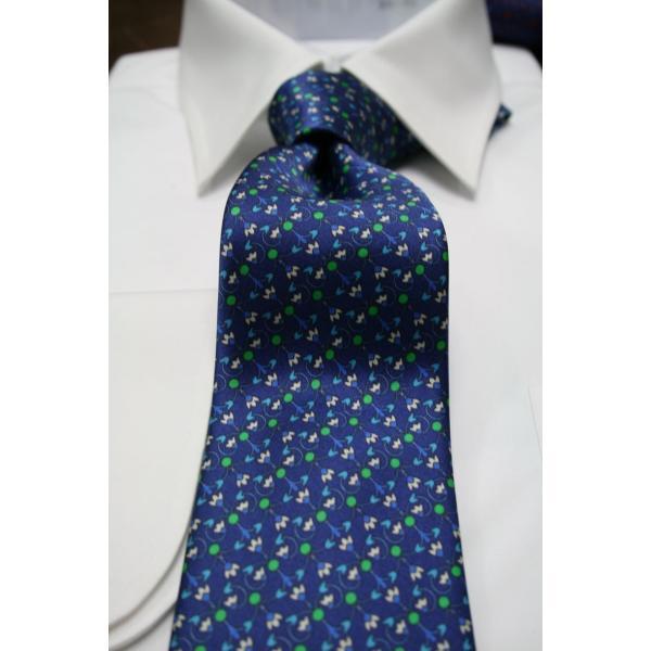 シルビオ・フィオレッロ【Silvio Fiorello】ネイビーベースに幾何学模様風の花柄(ブルー×グリーン) shop-kinkodo 02