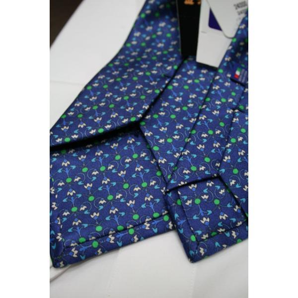 シルビオ・フィオレッロ【Silvio Fiorello】ネイビーベースに幾何学模様風の花柄(ブルー×グリーン) shop-kinkodo 04