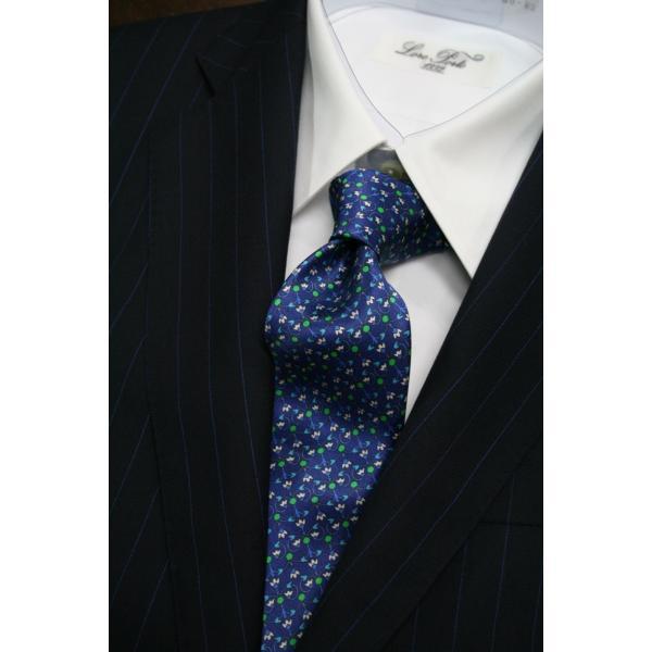 シルビオ・フィオレッロ【Silvio Fiorello】ネイビーベースに幾何学模様風の花柄(ブルー×グリーン) shop-kinkodo 06