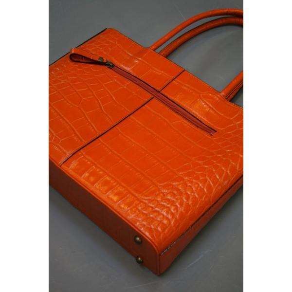 ミニトートバッグ牛革クロコダイル型押しA4ファイル収納可能、自立型、裏地迷彩柄 日本製(オレンジ)|shop-kinkodo|03