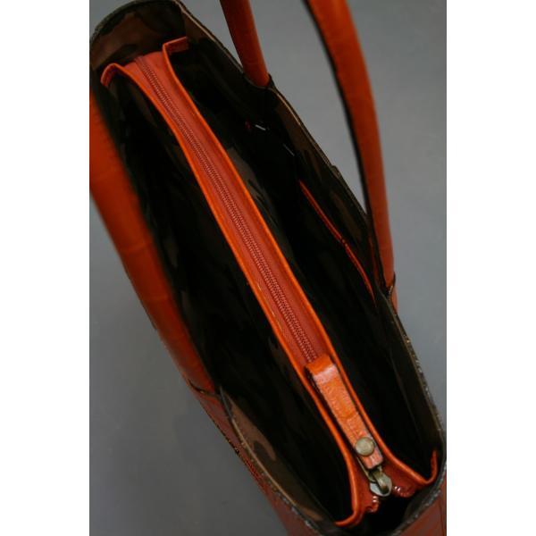 ミニトートバッグ牛革クロコダイル型押しA4ファイル収納可能、自立型、裏地迷彩柄 日本製(オレンジ)|shop-kinkodo|04