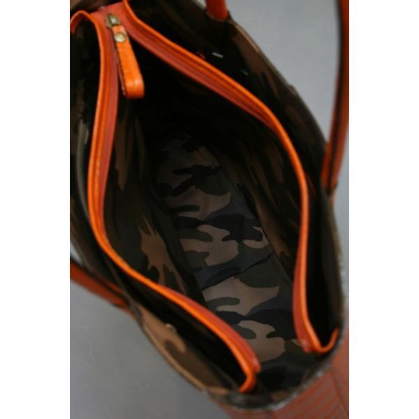 ミニトートバッグ牛革クロコダイル型押しA4ファイル収納可能、自立型、裏地迷彩柄 日本製(オレンジ)|shop-kinkodo|05