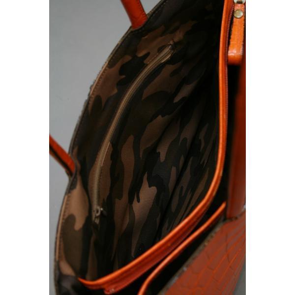ミニトートバッグ牛革クロコダイル型押しA4ファイル収納可能、自立型、裏地迷彩柄 日本製(オレンジ)|shop-kinkodo|06