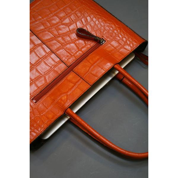 ミニトートバッグ牛革クロコダイル型押しA4ファイル収納可能、自立型、裏地迷彩柄 日本製(オレンジ)|shop-kinkodo|08