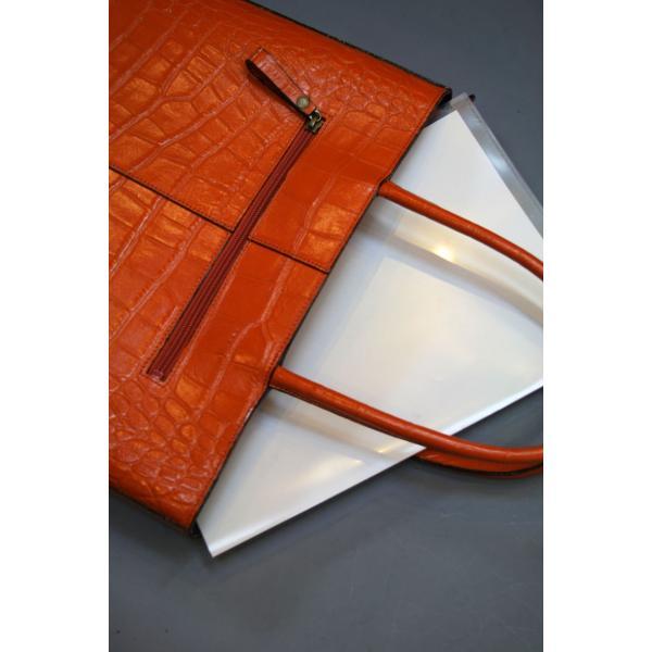 ミニトートバッグ牛革クロコダイル型押しA4ファイル収納可能、自立型、裏地迷彩柄 日本製(オレンジ)|shop-kinkodo|09