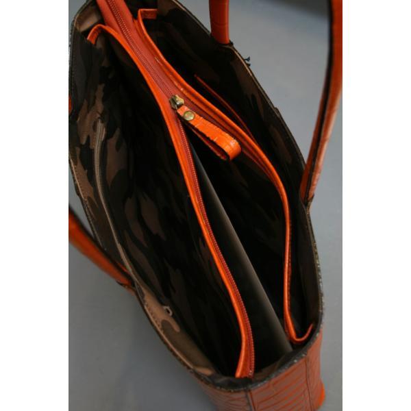 ミニトートバッグ牛革クロコダイル型押しA4ファイル収納可能、自立型、裏地迷彩柄 日本製(オレンジ)|shop-kinkodo|10