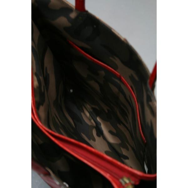 牛革クロコダイル型押しトートバック A4パソコン収納可能、自立型、裏地迷彩柄 日本製(レッド)|shop-kinkodo|05