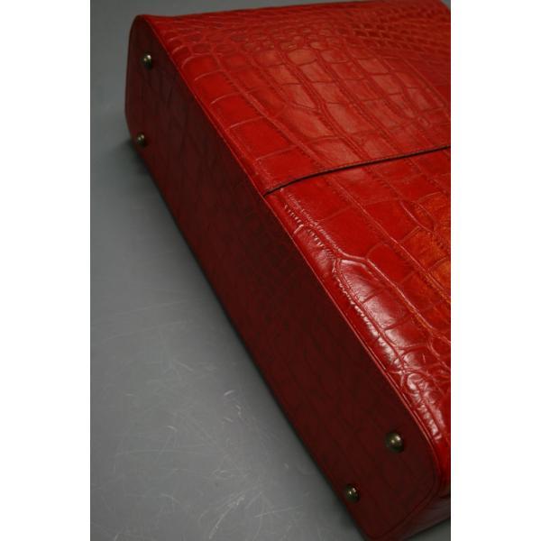 牛革クロコダイル型押しトートバック A4パソコン収納可能、自立型、裏地迷彩柄 日本製(レッド)|shop-kinkodo|06