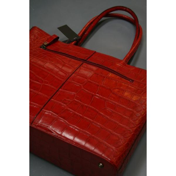 牛革クロコダイル型押しトートバック A4パソコン収納可能、自立型、裏地迷彩柄 日本製(レッド)|shop-kinkodo|08