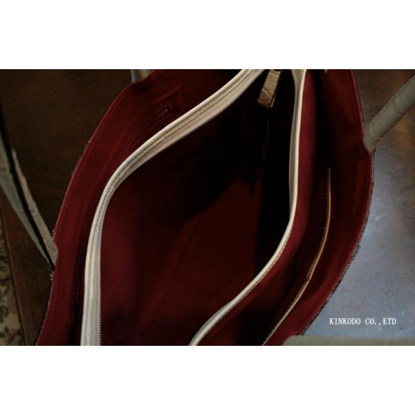 牛革クロコダイル型押し内張り赤のトートバック(ホワイト)|shop-kinkodo|11