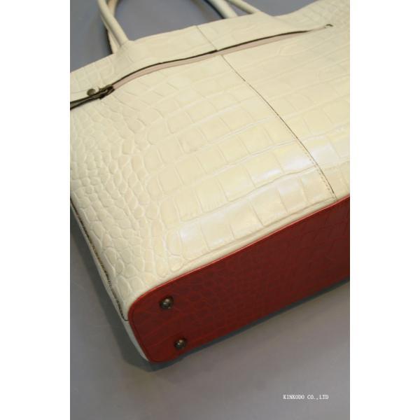 牛革クロコダイル型押し内張り赤のトートバック(ホワイト)|shop-kinkodo|07