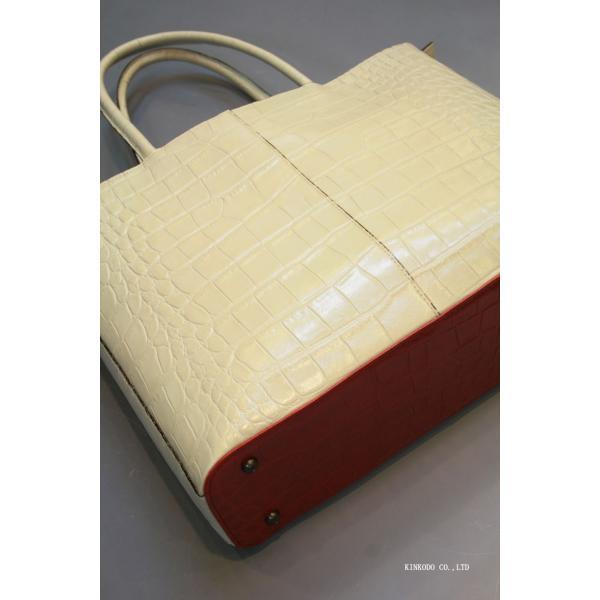 牛革クロコダイル型押し内張り赤のトートバック(ホワイト)|shop-kinkodo|08