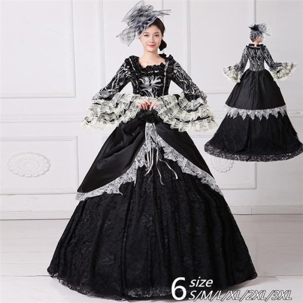 舞台 中世 貴族 衣装 豪華ロングドレス ステージ衣装としても最適  人気お姫様ドレス 黒 レース プリンセスライン 公爵夫人|shop-manten