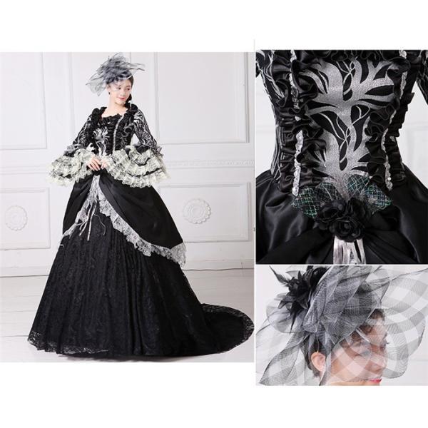 舞台 中世 貴族 衣装 豪華ロングドレス ステージ衣装としても最適  人気お姫様ドレス 黒 レース プリンセスライン 公爵夫人|shop-manten|03
