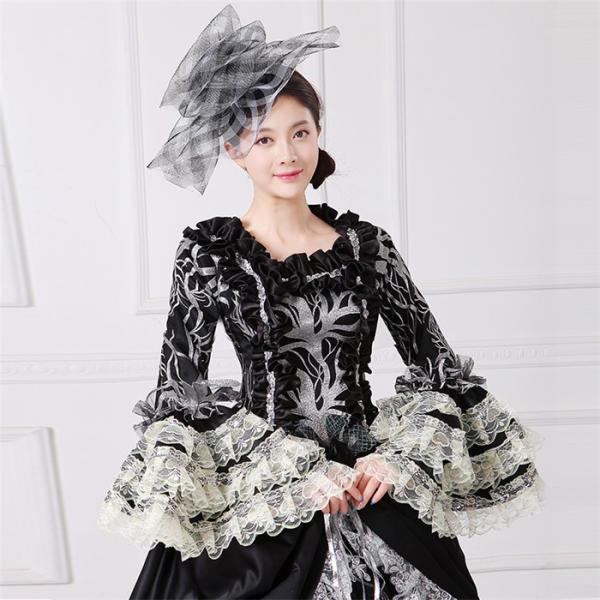 舞台 中世 貴族 衣装 豪華ロングドレス ステージ衣装としても最適  人気お姫様ドレス 黒 レース プリンセスライン 公爵夫人|shop-manten|04