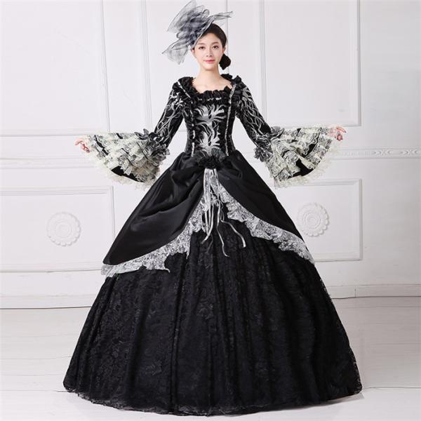 舞台 中世 貴族 衣装 豪華ロングドレス ステージ衣装としても最適  人気お姫様ドレス 黒 レース プリンセスライン 公爵夫人|shop-manten|05