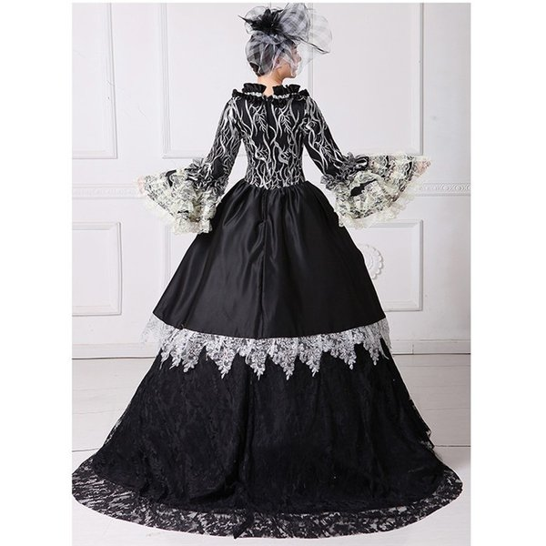 舞台 中世 貴族 衣装 豪華ロングドレス ステージ衣装としても最適  人気お姫様ドレス 黒 レース プリンセスライン 公爵夫人|shop-manten|06
