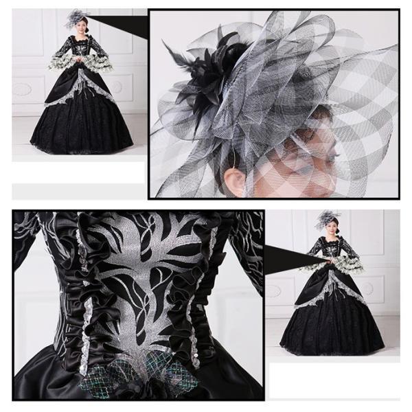 舞台 中世 貴族 衣装 豪華ロングドレス ステージ衣装としても最適  人気お姫様ドレス 黒 レース プリンセスライン 公爵夫人|shop-manten|07