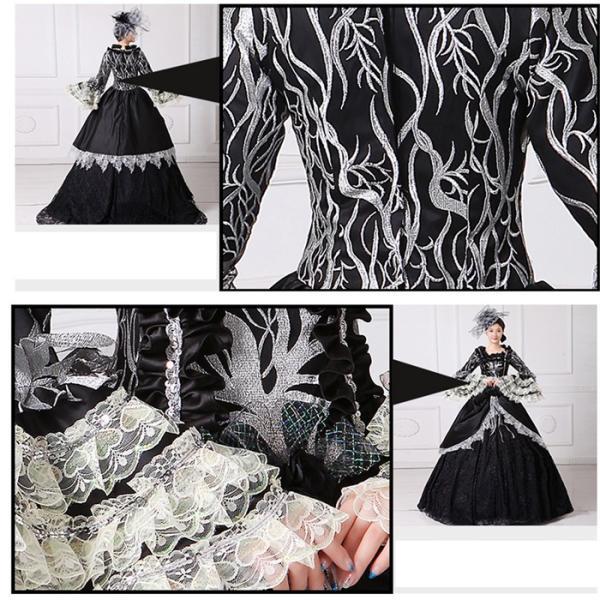 舞台 中世 貴族 衣装 豪華ロングドレス ステージ衣装としても最適  人気お姫様ドレス 黒 レース プリンセスライン 公爵夫人|shop-manten|08