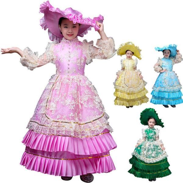 キッズ 子供服 ワンピース 演奏会ドレス 司会 劇場 ステージ 衣装としても最適 人気お姫様ドレス 公爵夫人 貴族服ドレス ドレス 中世 貴族|shop-manten