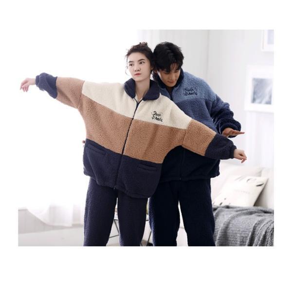 カップル パジャマ ペア 冬 あったかパジャマ あったかい モコモコ ペア 部屋着 裏起毛 冬向き ルームウェア 長袖 もこもこ 韓国 上下セット shop-manten 02