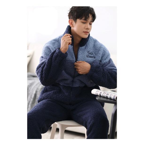 カップル パジャマ ペア 冬 あったかパジャマ あったかい モコモコ ペア 部屋着 裏起毛 冬向き ルームウェア 長袖 もこもこ 韓国 上下セット shop-manten 06