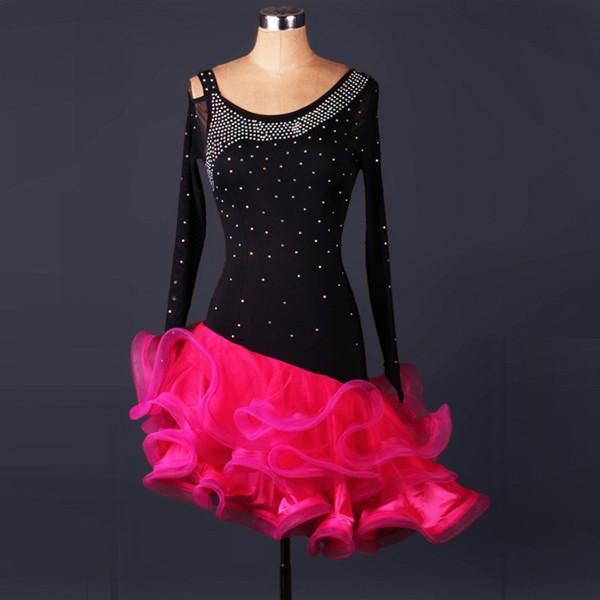 ラテン 衣装 社交ダンス ラテンドレス ドレス フリンジ キャバ ラ練習服 スタンダード ワルツ競技着 サイズ指定可|shop-manten