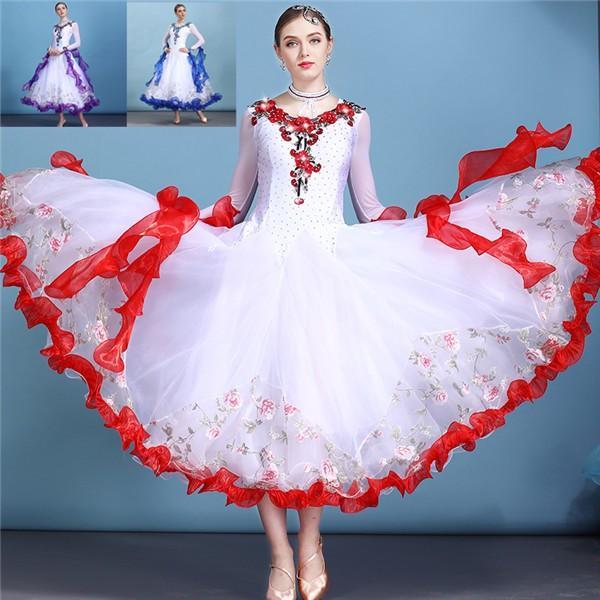 社交ダンス 衣装 モダンドレス ラテンドレス ラテン 社交ダンスドレス 大きい裾 S~3XL ダンス 練習服 舞台 shop-manten