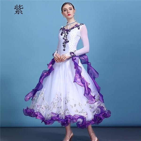 社交ダンス 衣装 モダンドレス ラテンドレス ラテン 社交ダンスドレス 大きい裾 S~3XL ダンス 練習服 舞台 shop-manten 09