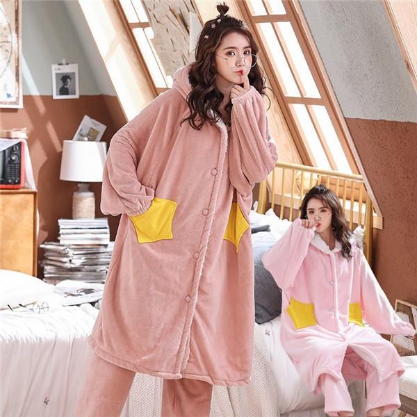 パジャマ レディース ナイトガウン ルームウェア もこもこ 裏起毛 かわいい 長袖 部屋着 ピンク 星柄 帽子付き 暖かい|shop-manten