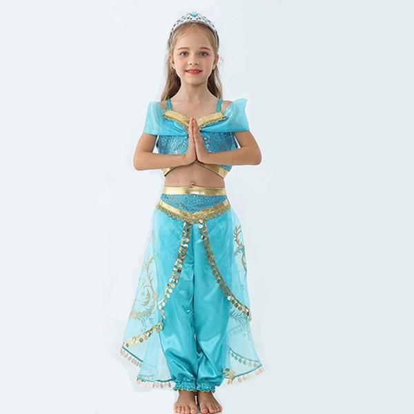即納 ジャスミン姫 ドレス ハロウィン コスプレ 衣装 プリンセスドレス ブルー コスチューム インディアン 子供用 ワンピース コスプレ 余興 仮装 100cm-150cm