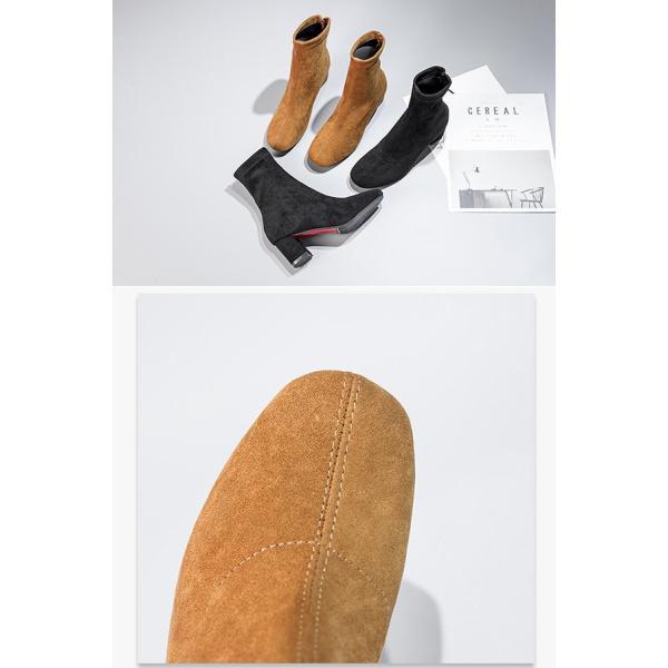 ショートブーツ レディース ソックスベーツ ストレッチブーツ チャンキーヒール レディース ブーツ ラウンドトゥ スエードブーツ 靴 ブーツ ローヒール 太ヒール