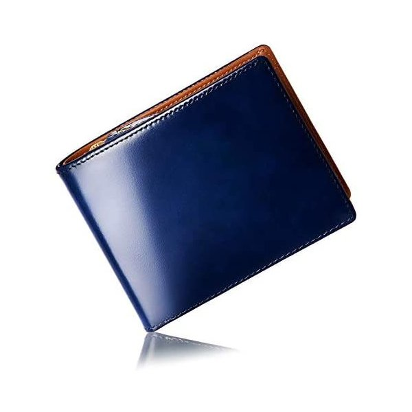 GLEVIO財布一流の財布職人が作る本革ジャパンレザー二つ折り財布メンズ小銭入れ付きYKK(ネイビーOneSize)