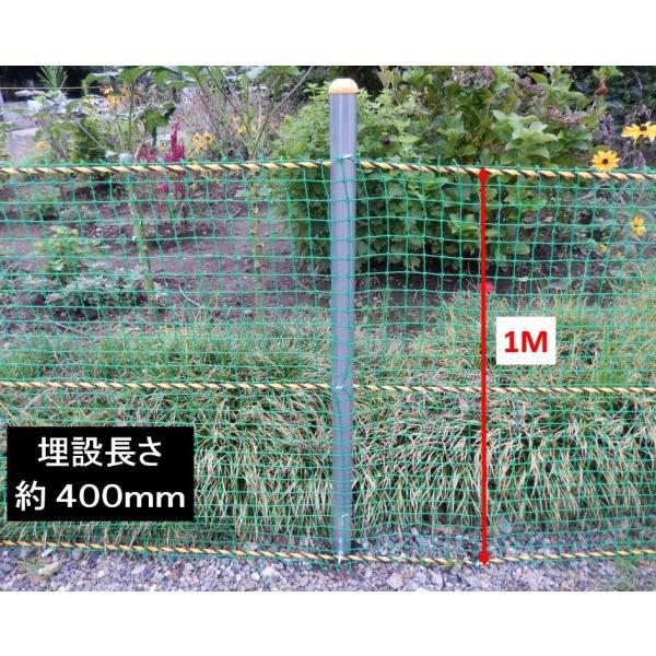 単管杭にネットを張って規制力アップ!打込み長さ約400mm・支柱高さ1M、杭と支柱の2パーツ、杭の長さは500mmで打込み簡単、鳥獣対策に!|shop-shinkou