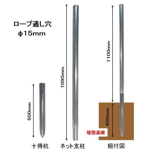 単管杭にネットを張って規制力アップ!打込み長さ約400mm・支柱高さ1M、杭と支柱の2パーツ、杭の長さは500mmで打込み簡単、鳥獣対策に!|shop-shinkou|05